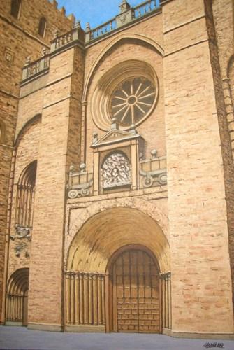 Pintura de Graciano Garcia - La Catedral de Siguenza a pleno Sol