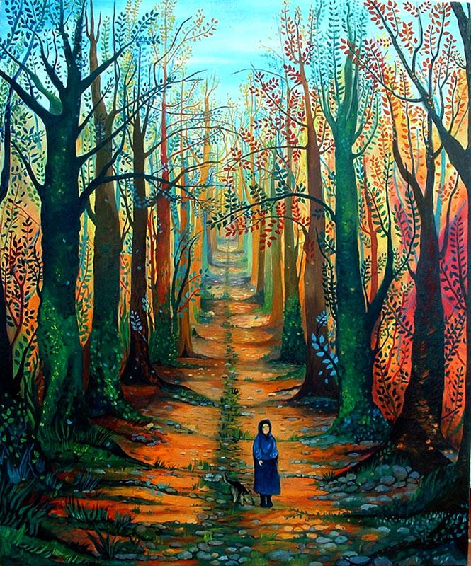 Pintura Camino entre árboles de Cristina Alejos