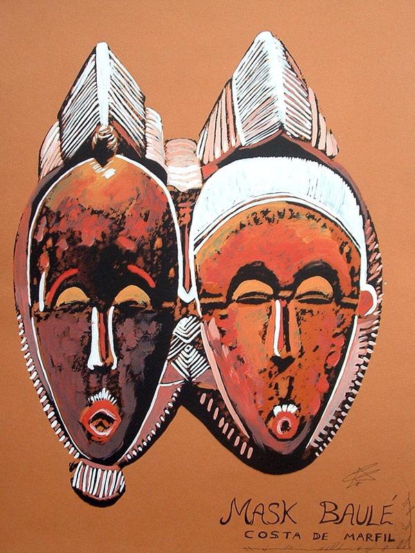 Ilustración de unas máscaras baulé de Cristina Alejos