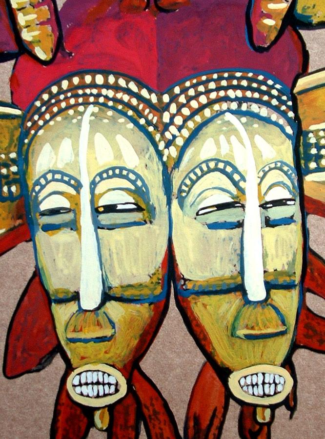 Ilustración de Máscaras Semufo de Cristina Alejos