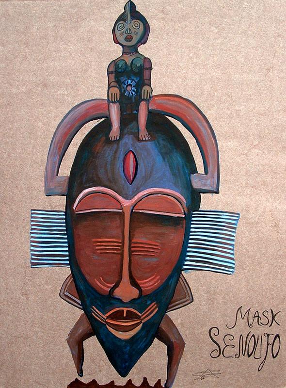 Ilustración de Máscara Senoufo de Cristina Alejos