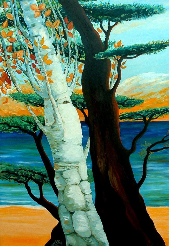 Pintura El Chopo y el Baobab de Cristina Alejos