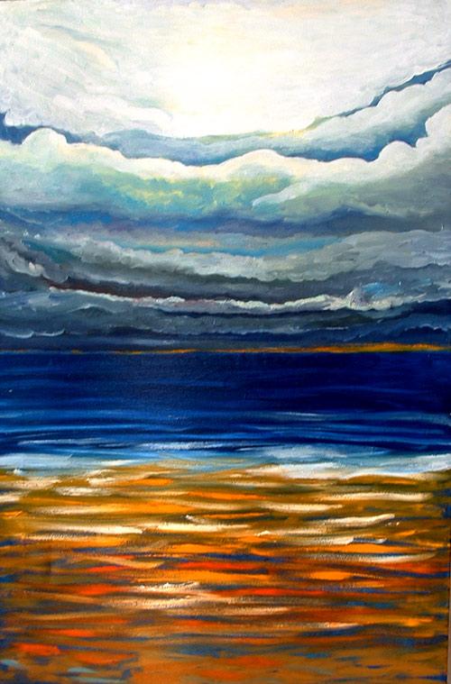 Pintura mar con nubes de tormenta