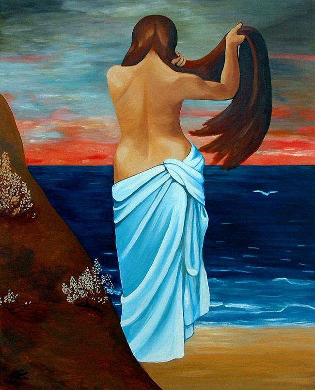 Pintura Muchacha a orillas del mar de Cristina Alejos