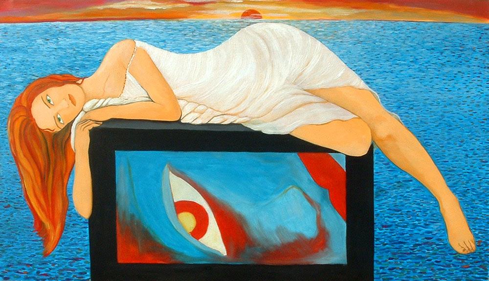 Pintura Poetisa Safo aburrida de Cristina Alejos