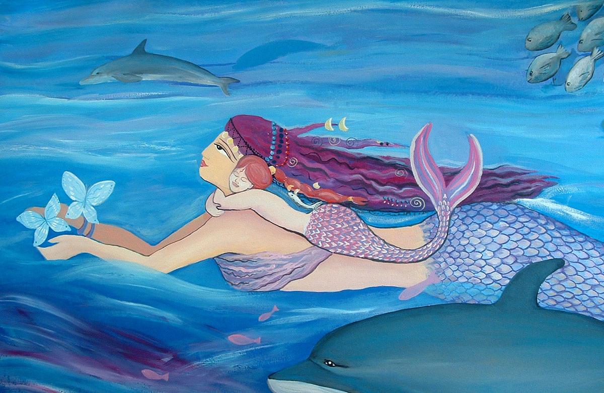 Pintura de Sirenas - detalle