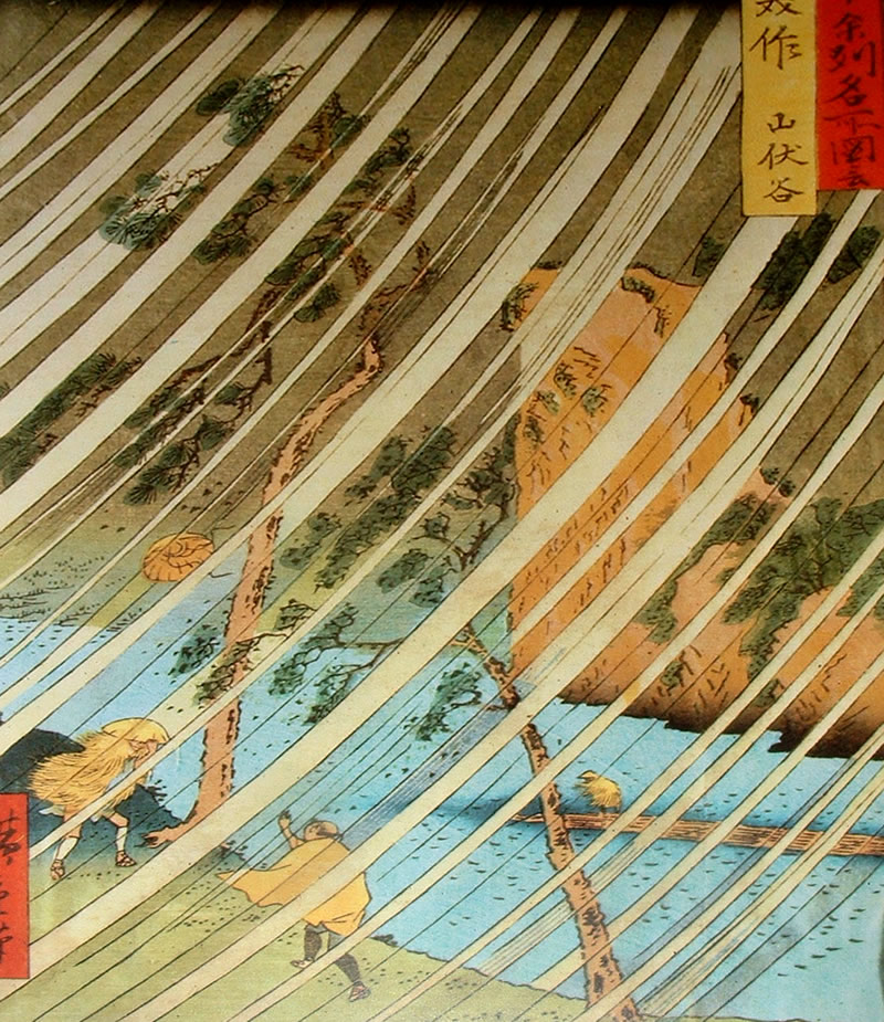 Ilustración japonesa Ukiyo-e Tormenta