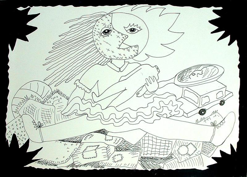 Ilustración a tinta china de una muñeca nina de Cristina Alejos