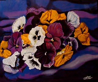 Flowers on violet background. pastel painting