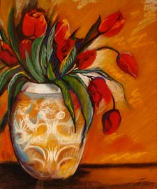 Still life of flowers. pastel Painting