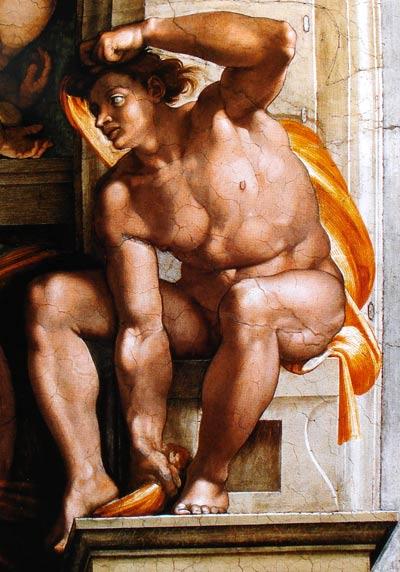 Desnudo masculino en columna