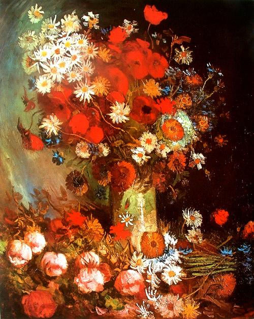 Vase with poppies, cornflowers, peonies and chrysanthemums