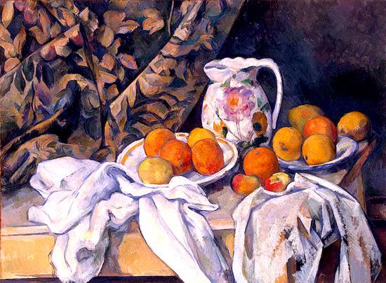 Naturaleza muerta con mantel - Cezanne
