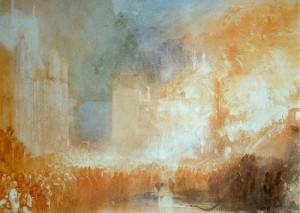 Acuarela del Incendio de las casas del Parlamento de Turner