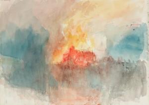 Acuarela del Incendio en el parlamento de Turner