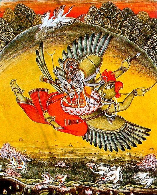 Dios hindú y su amante volando sobre el dios ave