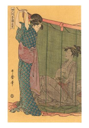 Geishas -pintura-japonesa- sombras