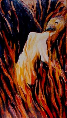 pintura Mujer árbol quemándose