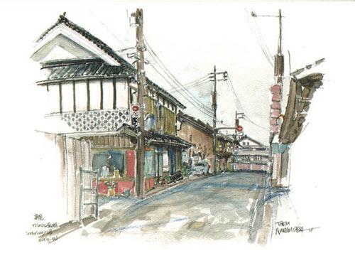 Boceto de una calle japonesa
