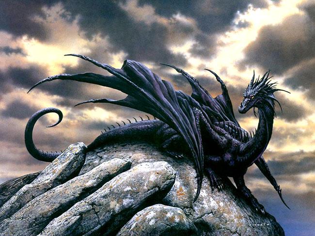 Dragón negro del artista Ciruelo