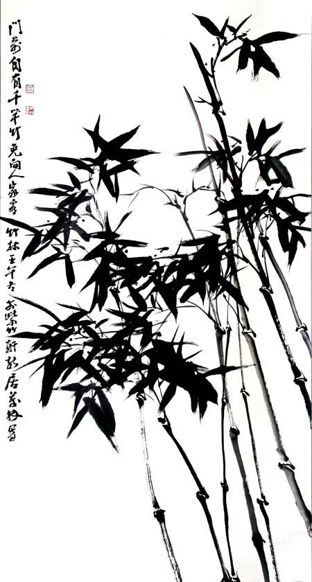 Dibujo sumi e de unas cañas y hojas