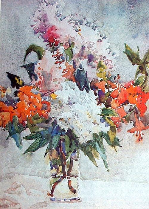 Flores, Acuarela de David Millard