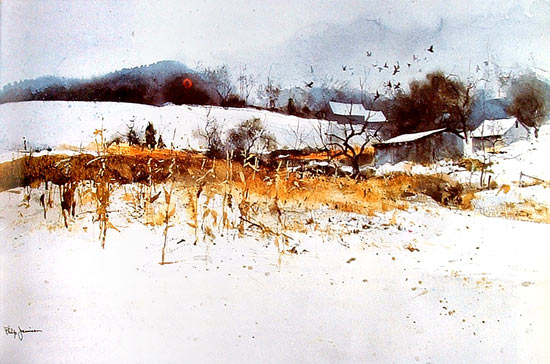Flock of crows, Watercolor by Philip Jamison