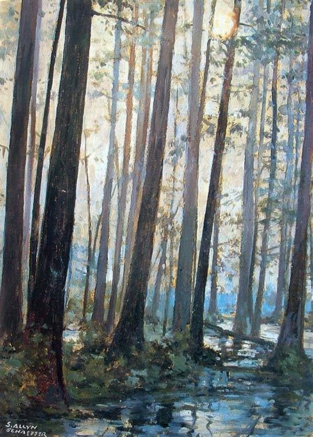 Pintura del paisaje con niebla