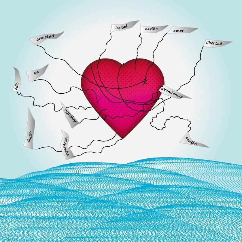 Ilustración Corazón con cometas de sentimientos