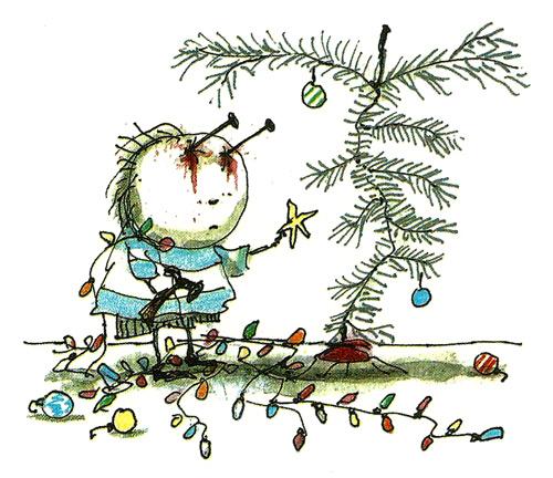 Ilustración de Tim Burton - Ojos clavos
