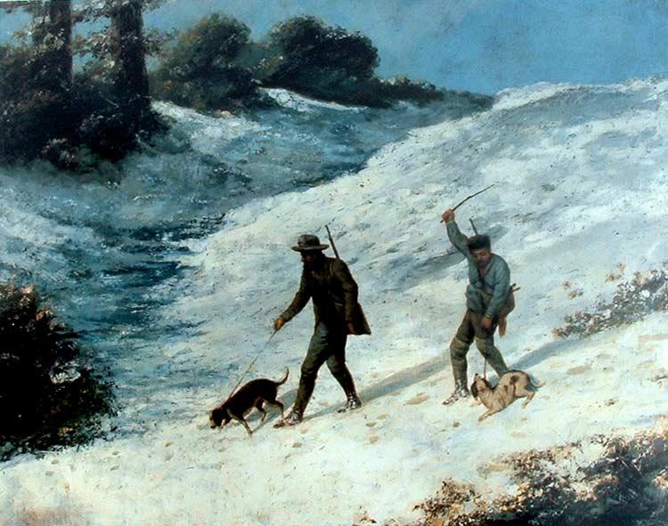 Cazadores en la nieve de Gustave Courbet