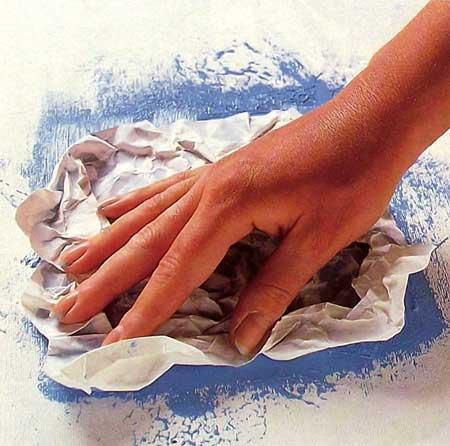 Pintura con Frotado en papel liso