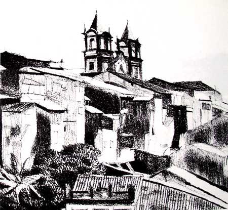 Dibujo de un pueblo con lápices grasos