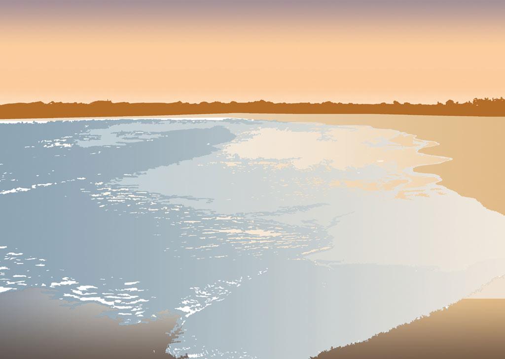 Dibujo de una playa de Valencia