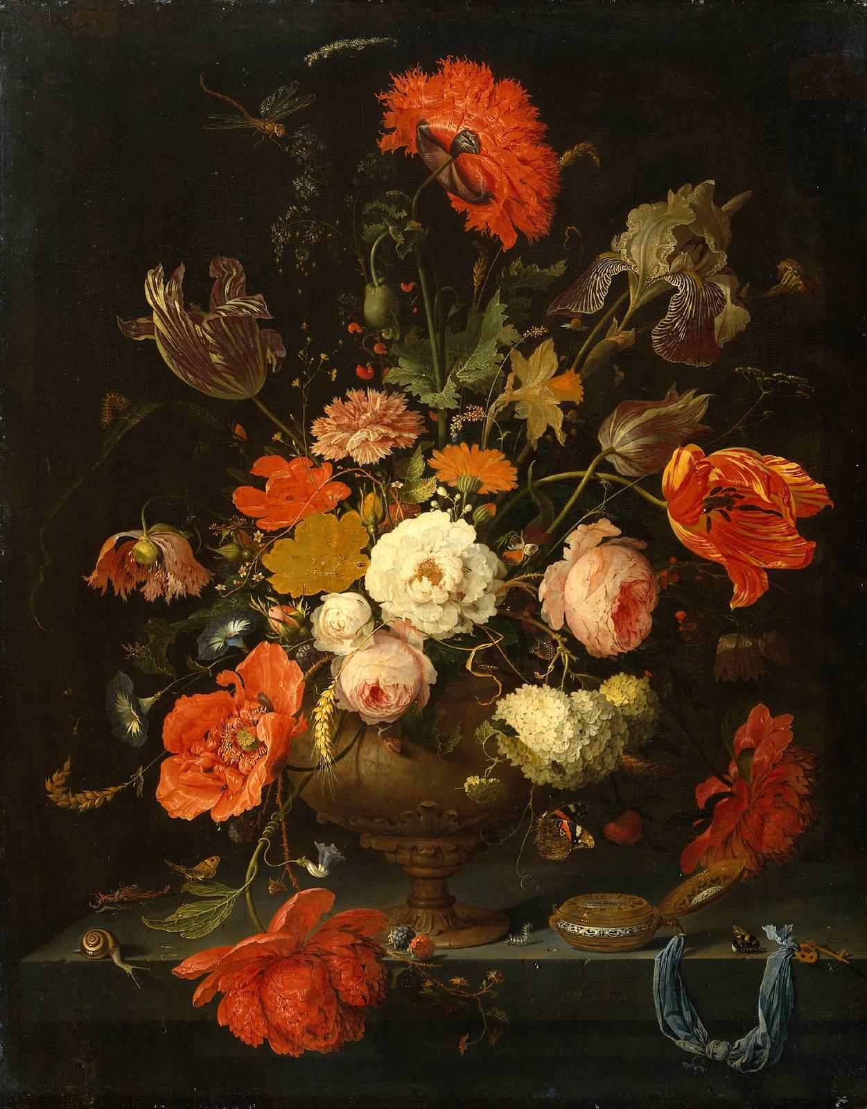 Flores al óleo Abraham Mignon