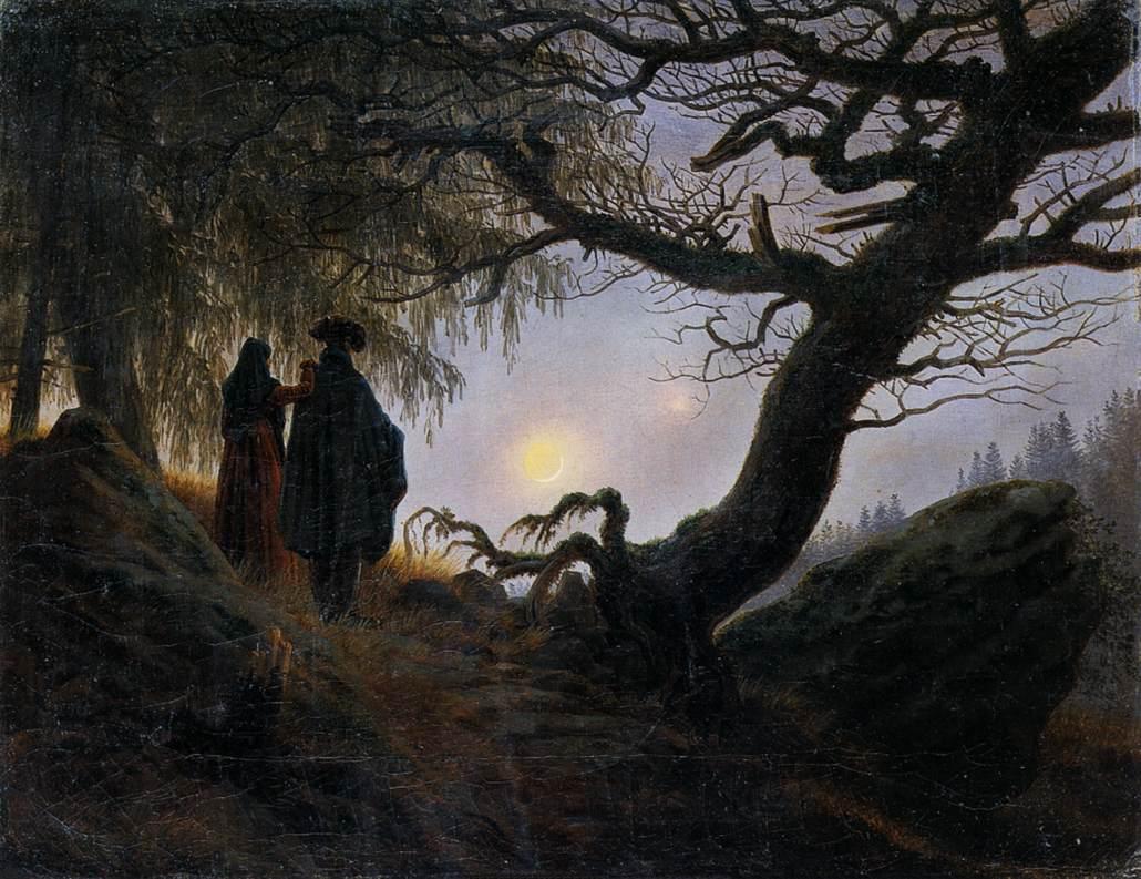 Pareja mirando la luna de David Friedrich