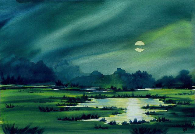 Luna Azul, acuarela de Tito Fornasiero