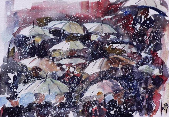 Nevando sobre los paraguas