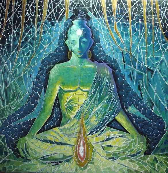 Buda meditando con formas azules y creativas