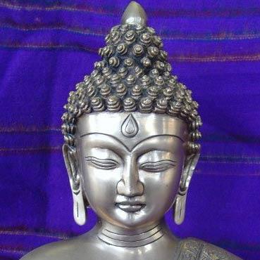 Buddha sculpture silver