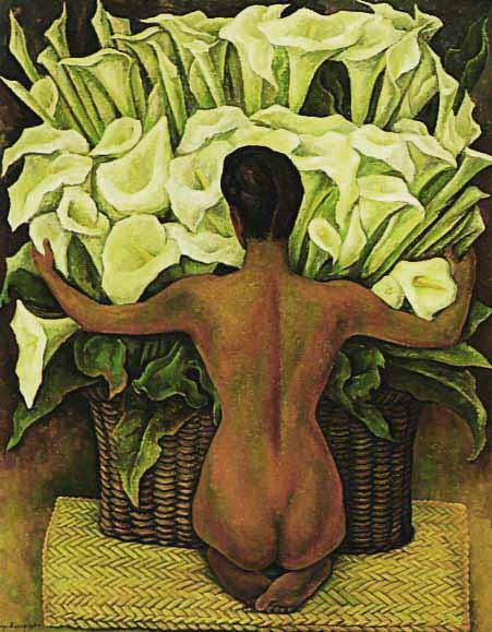 Mujer de espaldas con grandes flores Calas