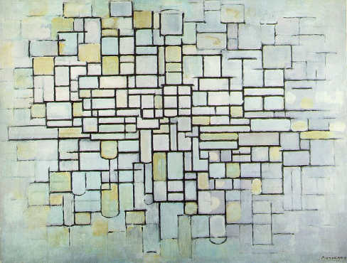 Mondrian, cuadro con colores neutros