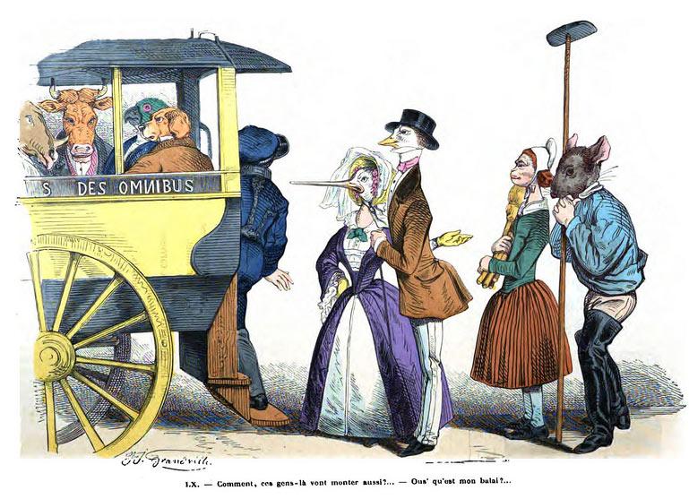 El tranvía, dibujo de Grandville
