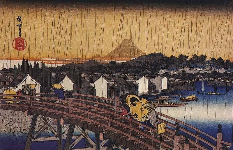 Lluvia sobre el puente, Hiroshige