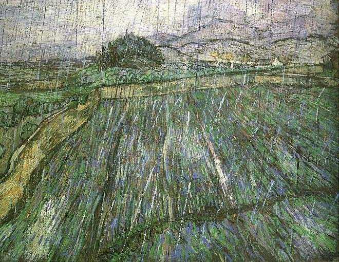 Trigal bajo la lluvia, de Van Gogh