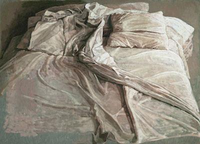 Pintura de una cama y sábanas arrugadas de Safet Zec
