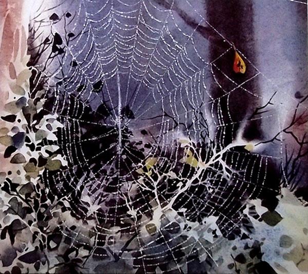 Tela de araña en un bosque