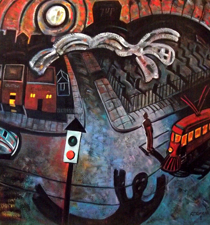 Pintura Gost of evergreen cementery, Frank Romero