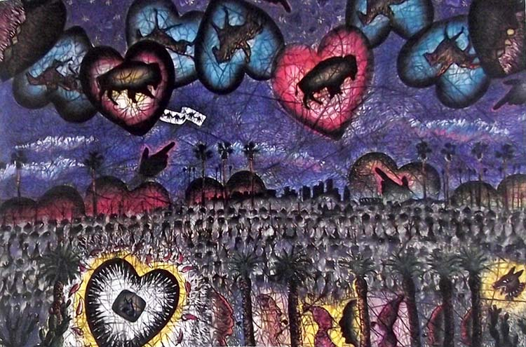 Pintura Corazón amaneciendo sobre L.A de Leo Limón