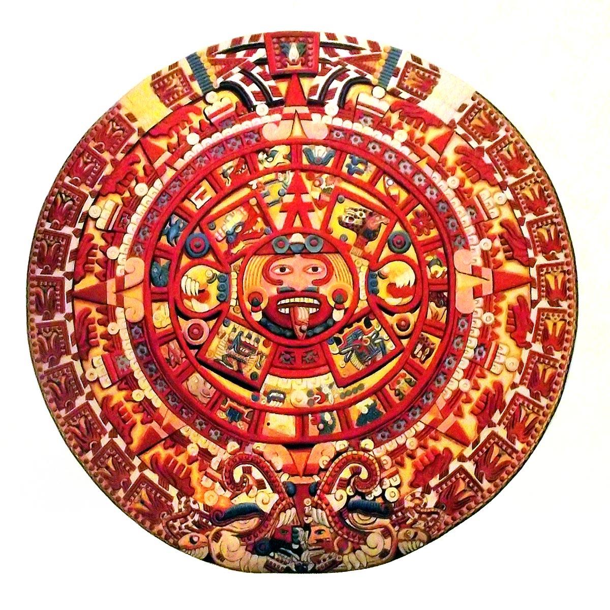 Calendario azteca en colores